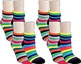 RS. Harmony | Socken und Strümpfe für Damen | Soft Streifen Thermo | 8 Paar | rosa-schwarz, | 39-42