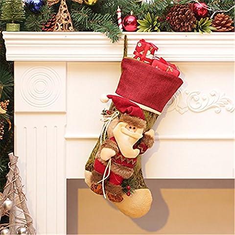 Divertente serie di natale decorazione Novità Peluche doni:decorazione di Natale Decorazioni di Natale regalo calze di Natale Sacchetti regalo pendenti 55*24cm, vintage vecchio