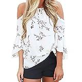 Piebo Damen Sommer Oberteile mit Blumendruck Schulterfrei T-Shirt Elastische Kordelzug Neck Casual Tops Bluse (XL, Weiß)