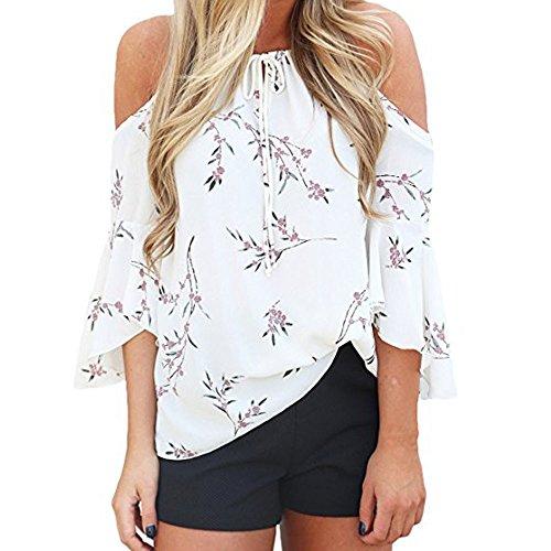 Piebo Damen Sommer Oberteile mit Blumendruck Schulterfrei T-Shirt Elastische Kordelzug Neck Casual Tops Bluse (M, Weiß)