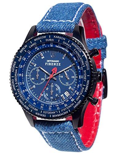 Detomaso Firenze Style – Reloj de cuarzo para hombres, con correa de cuero de color azul, esfera azul