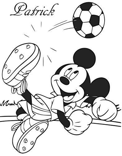 wall-decor Personalisierte Mickey Maus spielt Fussball Art Wand Aufkleber, Mickey Mouse Kinder Schlafzimmer Aufkleber. schwarz
