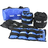 H&S® 1kg, 2kg, 3kg, 4kg, 5kg, 6kg, 8kg, 10kg, Wrist Ankle Weights Exercise Fitness Gym Resistance Stength Training Running (Black, 5 kg = 2 x 2.5kg)