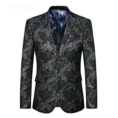 Herren Anzugjacke Floral Blazer Schwarz für Freizeit und Party von YOUTHUP Schwarz XXXL (Tweed Tuch Mantel Jacke)