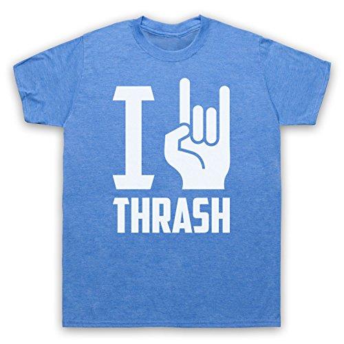 I Love Thrash Metal Herren T-Shirt Jahrgang Blau
