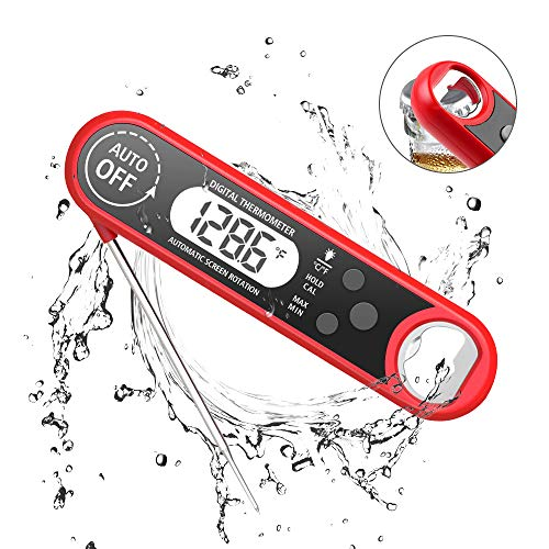 Digital Food Thermometer with Bottle Opener, Instant Read Thermometer Foldable Electronic Meat Thermometer with Probe, Perfect for Kitchen Cooking, Grill, Milk - Digital Probe Thermometer