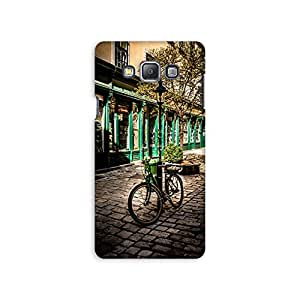 Mikzy Bicycle Parked With A Street Pole Printed Designer Back Cover Case for Samsung A7 (Multicolour)
