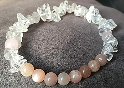 bracelet Anti Depression Energie Vitalité Pierre de Soleil Quartz Rose Cristal de Roche Pierre naturelle semi-précieuse