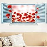 Bilderwelten 3D Wandtattoo - Mohnfeld Fenster - Quer 1:2, Sticker 3D Wandtattoos Wandsticker Wandbild, Größe: 30cm x 60cm