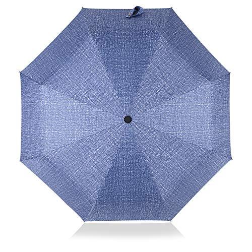 DORRISO Automatico/Manualmente Ombrello Pieghevole Manico Antiscivolo Antivento Impermeabile Anti-UV Multiuso Viaggio Ombrello Uomo Donna Ombrello Blu
