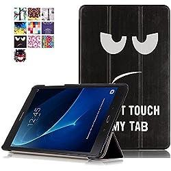"""Coque Samsung Galaxy Tab A6 10.1"""" - Style de Smart Cover Case Etui à Rabat Housse de Protection pour Tablette Samsung Galaxy Tab A 10.1 Pouces (2016) T580N/T585N Coque en Cuir Pochette (#2 Noir & blanc)"""