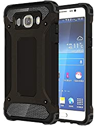 Skitic Etui Housse Coque Anti Choc pour Samsung Galaxy J5 2016 (SM-J510F), 2 en 1 Hybride Armour Case TPU + PC Incassable Back Cover Rigide Coque de Protection pour Samsung Galaxy J5 2016 Smartphone - Noir