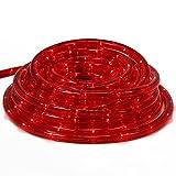 com-four® Tubo de luz LED con luz roja para Uso en Interiores y Exteriores, Cadena de luz Flexible como iluminación Decorativa para Todas Las Estaciones o Estaciones, 9 m (09 Metros Rojo - 01 Piezas)