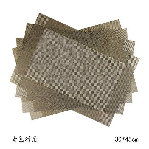 Leisial 6PCS Sets de Table Anti-Glissant en PVC Lavables Sets de Table Facile à Nettoyer Résistant à la Chaleur pour Cuisine Salle à Manger(Vert)