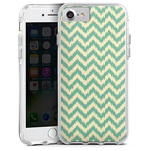 Apple iPhone 7 Bumper Hülle Bumper Case Glitzer Hülle Zickzack Pattern Muster Bumper Case transparent