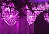 20 LED Luci Solari Forma di Cuore, KEEDA Luci Stringa Esterne Impermeabili, Luci da Giardino Solari per Matrimonio/Fuori/Giardino/San Valentino Decorazione (Viola)