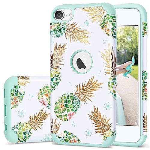 iPod Touch 5Fall, iPod Touch 6Case Ananas, fingic Floral Ananas Ultra Slim Schutzhülle Hard PC Weiches Gummi Kratzfest stoßfest Schutzhülle für Apple iPod Touch 56. Generation, T097-001 Green