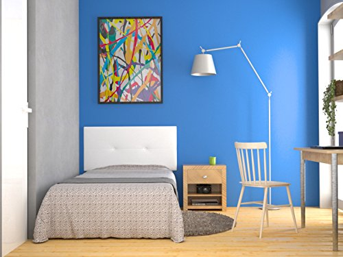 LA WEB DEL COLCHON Cabecero de cama tapizado acolchado juvenil Julie 115 x 55 cms. Para camas de 80, 90 y 105 cms. Polipiel color Blanco. Incluye herrajes para colgar con regulador de altura