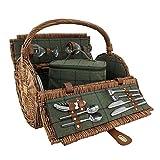 2 Groene Persoon Tweed Barrel rieten picknickmand