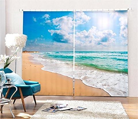 KKLL Polyester 3D Individualität Weiße Wolken Strand Visier Raum Print Stoffe Anti-UV Schattentuch Lärm Reduzieren Solide Thermische Kinder Vorhänge Home Decor Schlafzimmer Fenster Vorhänge , wide 2.03x high 1.6