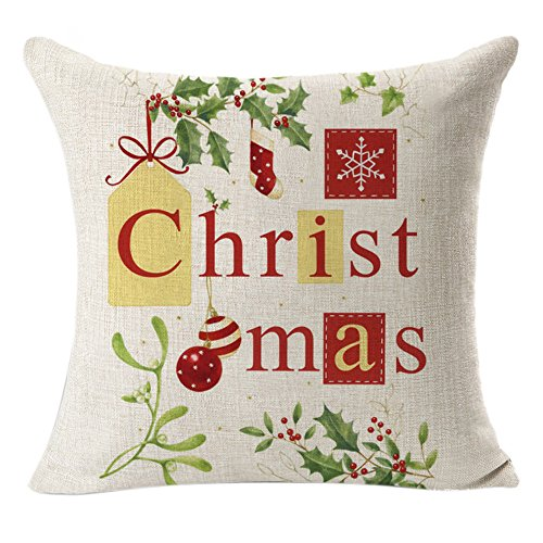 Lucky Mall Weihnachtsleinen-Quadrat-Wurf Flachs Kissenbezug Dekorative Kissen Kissenbezug - Sammlung Pailletten-jersey