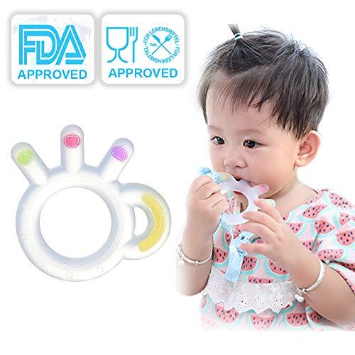 Baby Beißring, Zahnungshilfe Baby Weich Transparent Silikon, Zahnen Spielzeuge Geschenk für Kleinkind und Säugling, BPA frei mit Anti Fall Kette und Aufbewahrungsbox (3 Monate+)