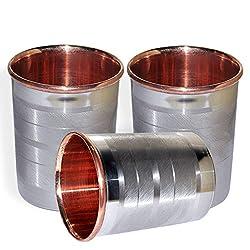 DakshCraft Drinkware Accessories Handmade Copper Tumblers, Set of 3, Ayurvedic Product fro Healing