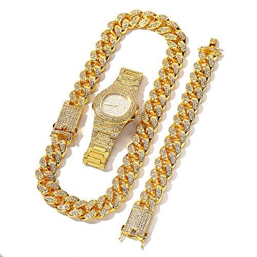 MKHDD 20mm große breite kubanische Kette Halskette Armband und Uhr 3er Herren Hip Hop Schmuck Set Gold Silber Rose,Gold,8inch+24inch (Kubanische Mann Kostüm)