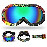 Kid Snow Snowboard Goggles Anti-Fog Ski Goggles Winter Sport UV Protection Double Lens Windproof Skating Ski Mask Glasses,Color-2