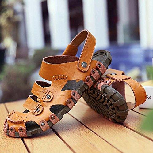 Onfly Männer Jungen Geschlossene Zehe Leder Beiläufig Sandalen Hausschuhe Rutschfest Atmungsaktiv Gehen Draussen Sandalen Wasser Schuhe Lässige Sneakers Strandschuhe Athletische Sandalen Brown