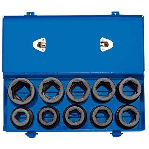 1 q. Dr. Kombinierter MM/AF Schlag-Steckschlüsselsatz in Metallkoffer, 10-teilig
