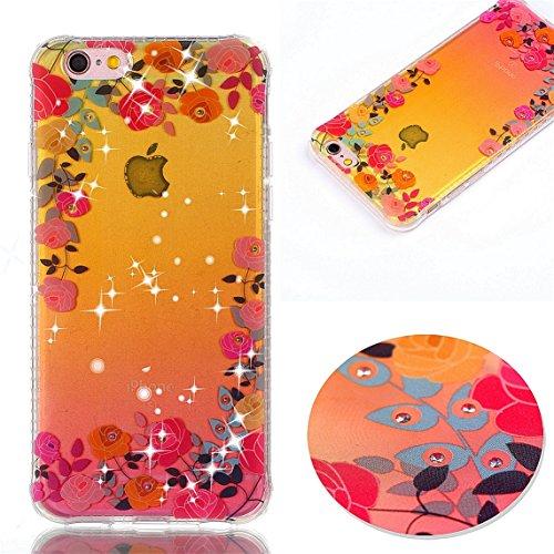 iPhone 6S Coque, Voguecase TPU avec Absorption de Choc, Etui Silicone Souple Transparent, Légère / Ajustement Parfait Coque Shell Housse Cover pour Apple iPhone 6/6S 4.7 (diamant plum fleur)+ Gratuit  Pink Rose 04
