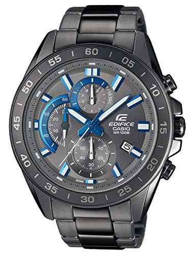 Casio EDIFICE Reloj en caja sólida, 10 BAR, Negro/Azul, para Hombre, con Correa de Acero inoxidable...