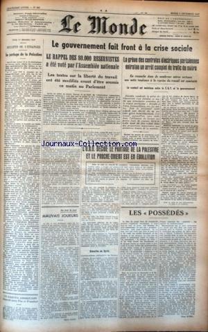 MONDE (LE) [No 885] du 02/12/1947 - LE PARTAGE DE LA PALESTINE - LES CONFLITS SOCIAUX - L'ONU DECIDE LE PARTAGE DE LA PALESTINE ET LE PROCHE-ORIENT EST EN EBULLITION -