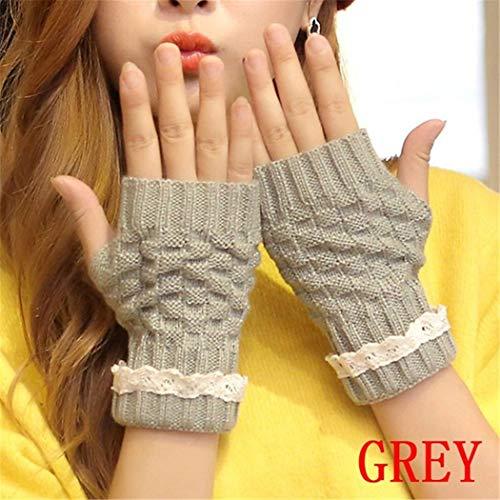 STZHIJIA Warme'S Fashion Halben Finger Handschuhe Damen Handschuhe Fingerlose Handschuhe Spitze Stricken Halben Finger Handschuhe F