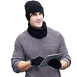 Wintermütze Herren Mütze Schal Handschuh-Sets, Touchscreen Handschuhe Beanie Warme Mütze Strickmütze Winterschal Herren mit Fleecefutter (Schwarz)
