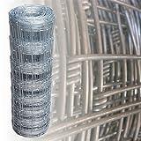Rete metallica zincata Maglia metallica zincata Recinzione per Pecore Rete pastorale Lunghezza 50 m Altezza 80 cm Larghezza maglie 15 cm (8 fili orizzontali)