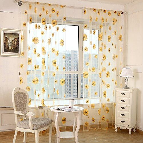 Aihometm-tenda a pacchetto con stampa di girasole stanza fresca chic, tulle-tenda in voile con motivo floreale, per 1 x porta decorazione per finestre giallo