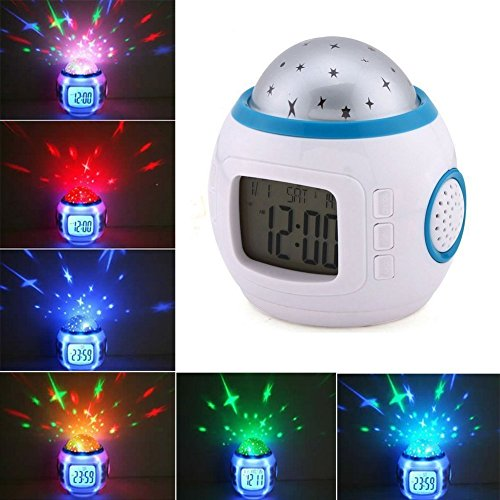 Best Gift Romantic Starry Projector Clock Kid Favoured Star Projection Night Light Children Dreamlike Sleeping Projector Lamp with Calendar, Thermometer and Music