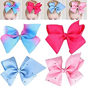 4PCS Big Hair Bows with Alligator Clips Boutique Kids Grosgrain Ribbon Headband Girl Hairpin for Baby Girls