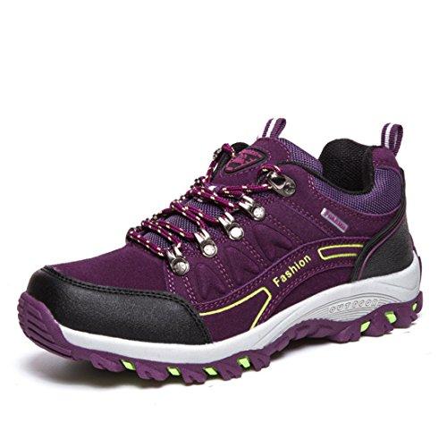 Men's Zapatillas Hombre Leather Outdoor Hiking Shoes purple