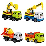MUJIA Camion Giocattolo Auto Veicolo Automezzi da Lavoro Scavatore Betoniera Gru Gioco per Bambini 3 4 Anni, Tipi Casuali