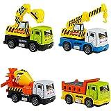 Camion Enfant Voiture Friction Voitures Miniatures Jouet Enfant Garcon 3 ans et Plus 4 Véhicules