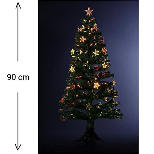 DECORACIÓN NAVIDAD - Arbol de Navidad artificial de fibra óptica + 14 estrellas luminosas - Entregado con su pie - Alto 90 cm - Color VERDE