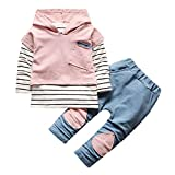 Ensemble à Manches Longues, Internet Bébé Fille Garçon Sweat à capuche Rayé Tops + Pantalon (24 Mois, Rose) - Taille L