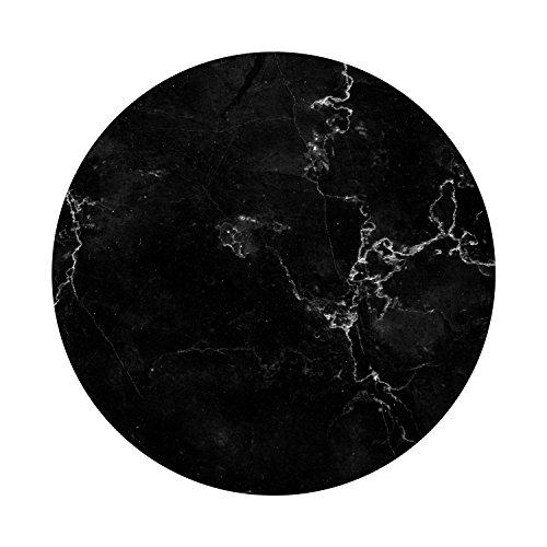 Maus-Pad Marmor-Look I dv_335 I Ø 22 cm rund I Mouse-Pad mit rutschfester Unterlage Standard-Größe schlicht modern Art Stein-Optik Granit schwarz weiß