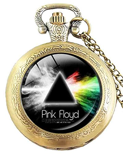 Pink Floyd Dark Side of the Moon Design Quarz Taschenuhr Halskette–Antik Bronze Effekt–in Geschenkbox mit gratis Ersatz Batterie