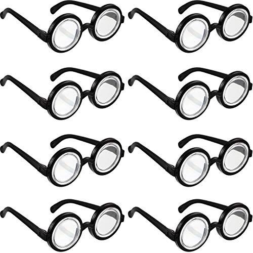 Schwarze Brille Kostüm Runde - Frienda 8 Stücke Nerd Brille Schwarze Rahmen Nerd Brille Flasche Kostüm Brille für Kostüm Party Bevorzugungen