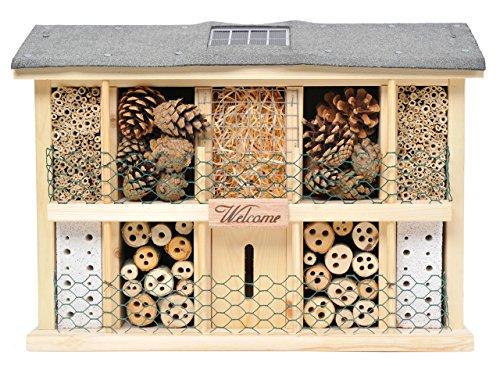 Luxus-Insektenhotels 22629e Solar - Insektenhaus Landsonne mit Solarzelle, Kippschalter und 3 LEDs Plus Lichtsensor -