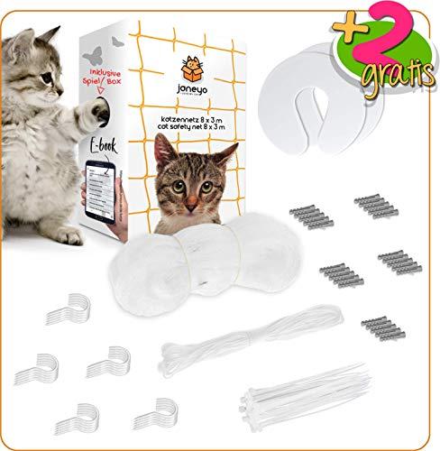 JANEYO - 8x3 m Katzennetz für Balkon & Fenster inkl. Befestigungsmaterial - Transparentes Katzenschutznetz mit Ebook - Katzengitter, Fensterschutz